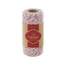 Cotton Twine Metallic 2mmX100m White/Metallic Red