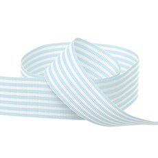 Grosgrain Ribbons - Grosgrain Fine Stripes Ribbon Baby Blue (25mmx20m)