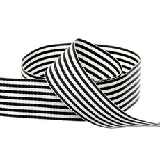 Grosgrain Ribbons - Grosgrain Fine Stripes Ribbon Black (25mmx20m)