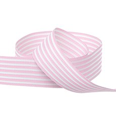 Grosgrain Ribbons - Grosgrain Fine Stripes Ribbon Baby Pink (25mmx20m)