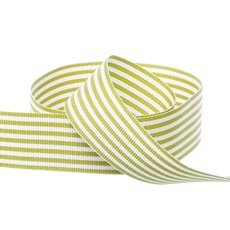 Grosgrain Ribbons - Grosgrain Fine Stripes Ribbon Lime (25mmx20m)
