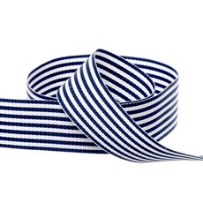 Grosgrain Fine Stripes Ribbon Navy (25mmx20m)