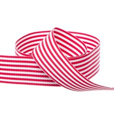 Grosgrain Fine Stripes Ribbon Red (25mmx20m)