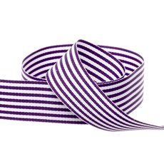 Grosgrain Ribbons - Grosgrain Fine Stripes Ribbon Violet (25mmx20m)