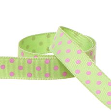 Grosgrain Swiss Dot Ribbon Lime (15mmx20m)
