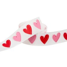 Love Heart Grosgrain Ribbon Red (25mmx20m)