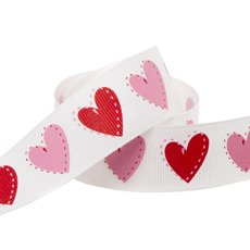 Love Heart Grosgrain Ribbon Red/Pink (25mmx20m)