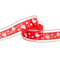 Scatter Heart Satin Ribbon Organza Edge Red (40mmx20m)
