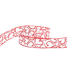 Valentines Day Ribbons - Ribbon Organza Full of Hearts Red (40mmx20m)