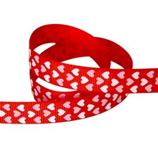 Valentines Ribbons - Ribbon Grosgrain Hearts Red (15mmx20m)