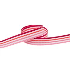 Taffeta Ribbon - Taffeta Multi Colour Stripes Pink (10mmx20m)