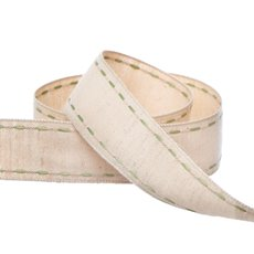 Cotton & Linen Ribbons - Cotton Ribbon Saddle Stitch Moss (25mmx20m)