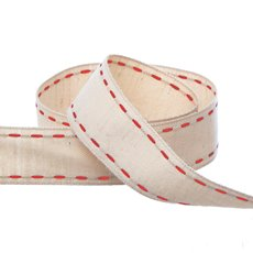 Cotton & Linen Ribbons - Cotton Ribbon Saddle Stitch Red (25mmx20m)