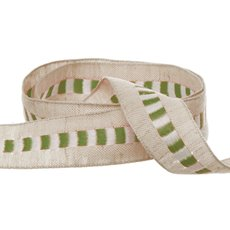 Cotton Ribbon Central Stripe Moss (25mmx20m)