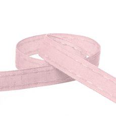 Cotton & Linen Ribbons - Coloured Cotton Ribbon Saddle Stitch Baby Pink (15mmx20m)