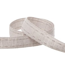 Cotton & Linen Ribbons - Coloured Cotton Ribbon Saddle Stitch Grey (15mmx20m)