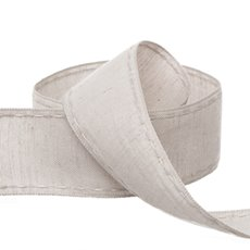 Cotton & Linen Ribbons - Coloured Cotton Ribbon Saddle Stitch Grey (38mmx20m)