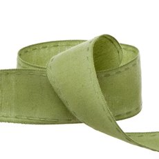 Cotton & Linen Ribbons - Coloured Cotton Ribbon Saddle Stitch Moss (38mmx20m)