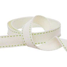 Herringbone Twill Ribbon Stitched Lime (15mmx10m)