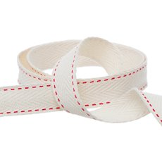 Herringbone Twill Ribbon - Herringbone Twill Ribbon Stitched Red (15mmx10m)