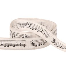 Cotton & Linen Ribbons - Cotton Musical Notation Ribbon Black (15mmx10m)