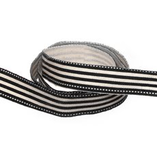 Cotton & Linen Ribbons - Cotton Stripe Ribbon Black (15mmx10m)