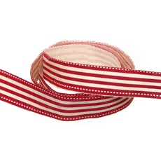 Cotton & Linen Ribbons - Cotton Stripe Ribbon Red (15mmx10m)