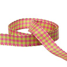 Taffeta Gingham DUO Ribbon Lime/Hot Pink