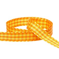 Taffeta Gingham DUO Ribbon (15mmx20m) Yellow/Orange