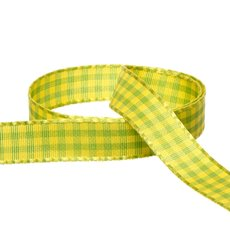 Taffeta Gingham DUO Ribbon Lime Yellow (15mmx20m)