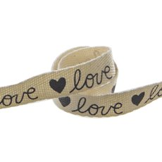 Valentines Ribbons - Cotton Ribbon Love Black (15mmx20m)