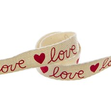 Valentines Ribbons - Cotton Ribbon Love Red (15mmx20m)