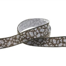 Cotton & Linen Ribbons - Cotton Ribbon Scattered Flowers Brown (25mmx10m)