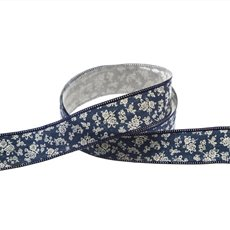 Cotton Ribbon Scattered Flowers Navy (25mmx10m)