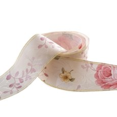 Cotton & Linen Ribbons - Cotton Ribbon Vintage Flowers Cream (38mmx10m)