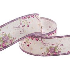 Cotton Ribbon Vintage Flowers Lavender (38mmx10m)