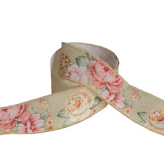 Cotton & Linen Ribbons - Cotton Ribbon Vintage Flowers Mint (38mmx10m)
