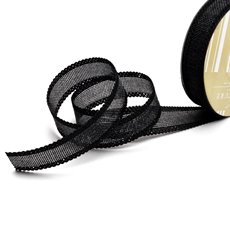 Cotton & Linen Ribbons - Faux Linen Ribbon with Scalloped Edge Black (25mmx10m)