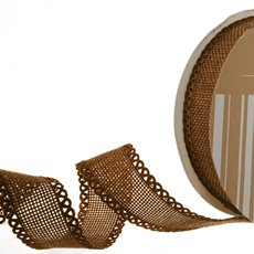 Faux Linen Ribbon with Scalloped Edge Brown (25mmx10m)