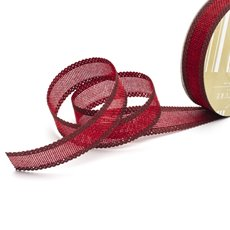 Cotton & Linen Ribbons - Faux Linen Ribbon with Scalloped Edge Burgundy (25mmx10m)