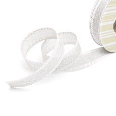 Cotton & Linen Ribbons - Faux Linen Ribbon with Scalloped Edge Bright White(25mmx10m)