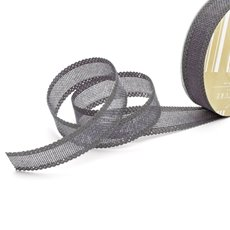 Cotton & Linen Ribbons - Faux Linen Ribbon with Scalloped Edge Charcoal (25mmx10m)