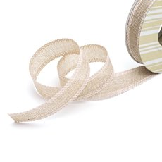 Cotton & Linen Ribbons - Faux Linen Ribbon with Scalloped Edge Cream (25mmx10m)