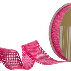Faux Linen Ribbon with Scalloped Edge Hot Pink (25mmx10m)