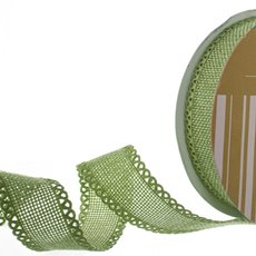 Cotton & Linen Ribbons - Faux Linen Ribbon with Scalloped Edge Moss (25mmx10m)