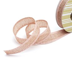 Cotton & Linen Ribbons - Faux Linen Ribbon with Scalloped Edge Pink (25mmx10m)