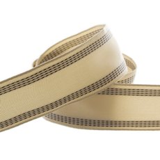 Natural Ribbon with Stitch Black (40mmx10m)