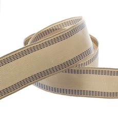 Natural Ribbon with Stitch Navy (40mmx10m)