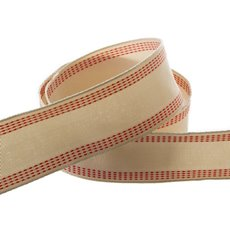 Natural Ribbon with Stitch Red (40mmx10m)