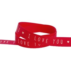 Valentines Day Ribbons - Herringbone Twill Ribbon I Love You Red (15mmx20m)
